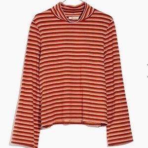 Stripe Wide Sleeve Turtleneck
